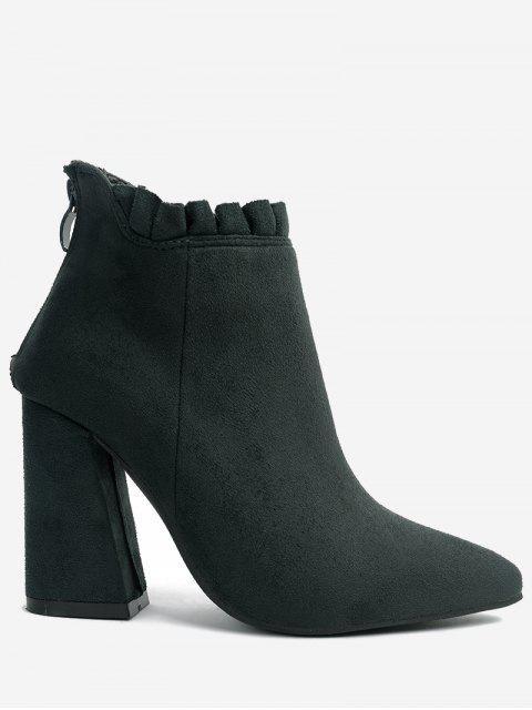 chic Pointed Toe Ruffles Chunky Heel Boots - GREEN 38 Mobile
