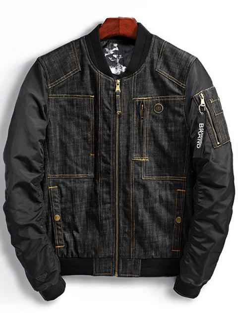 outfit Denim Panel Bomber Jacket with Pocket Detail - BLACK XL Mobile