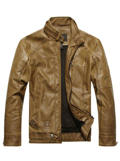 best Faux Leather Mens Biker Jacket - BROWN L Mobile