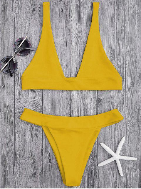 women Plunge Bikini Top and High Cut Bottoms - GINGER M Mobile