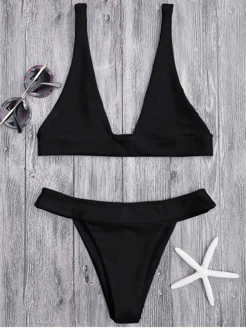 Haut de Bikini Plongeant et Culotte à Coupe Haute - Noir L Mobile