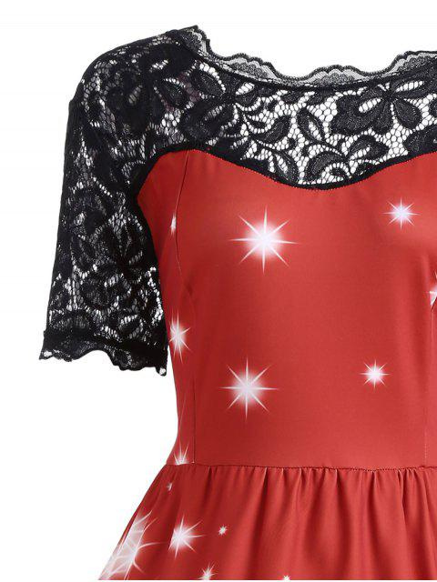 Plus Size Lace Panel Father Christmas Midi Party Dress - 紅 4XL Mobile
