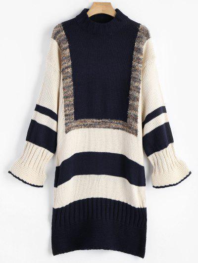 Striped Contrast Sweater Dress - Purplish Blue S