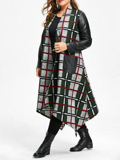 Image of Asymmetrical Leather Insert Plus Size Longline Plaid Coat