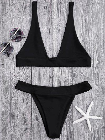 Plunge Bikini Top And High Cut Bottoms - Black M