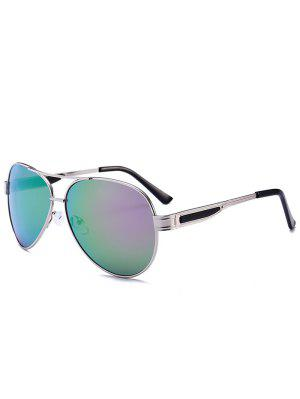 Metal Frame Crossbar Pilot Sunglasses - Gold Frame + Purple Green Lens - Gold Frame + Purple Green Lens