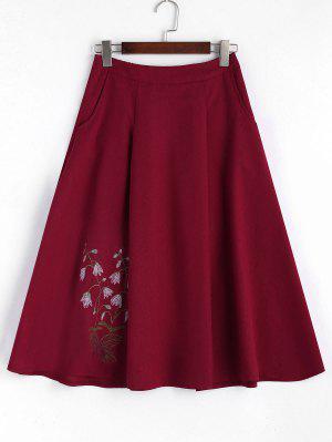 Floral Embroidered Midi A-line Skirt - Light Purple M