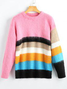 Fuzzy Colorful Striped Pullover Sweater STRIPE: Sweaters ONE SIZE ...