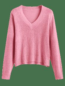 Loose V Neck Pullover Sweater PINK: Sweaters ONE SIZE | ZAFUL