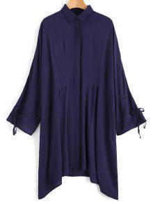 Camisa Com Moldura De Manga Amarrada Com Arco - Azul Arroxeado S