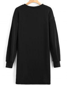 Larga De Casual L Camiseta Negro Manga Larga aTxwq6RB