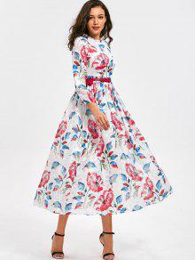 Vestido De Cetim Floral Cintura Alta Com Cinto - Floral M