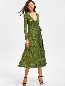 تغرق الرقبة الزهور الدانتيل التفاف اللباس - أخضر L
