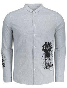 Camisa Y De La 3xl Negro Gris 243;n Encima Bot Rayada Impreso qP7Sp