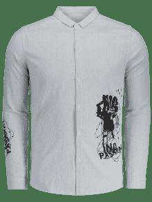 La De 243;n Negro Y 3xl Impreso Bot Rayada Camisa Encima Gris wfBxO