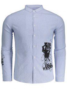 Botón Impreso Encima De La Camisa Rayada - Azul Y Blanco 2xl