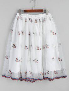 Malha Floral Bordada A Line Saia Midi - Branco S