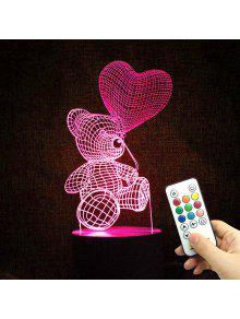 3D الدب الصمام اللون تغيير الحب اعتراف ضوء الليل - شفاف