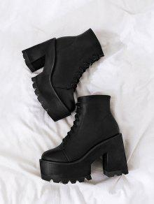 95087c003b3 38% OFF] 2019 Chunky Heel Lace UP Platform Boots In BLACK | ZAFUL