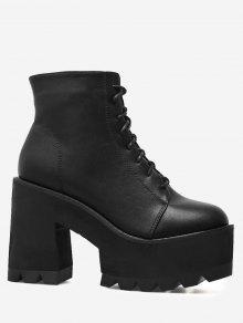 حذاء بكعب عريض ونعل سميك ذو رباط - أسود 38