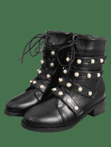 ... Front Tie Faux Pearl Accent Ankle Boots ...