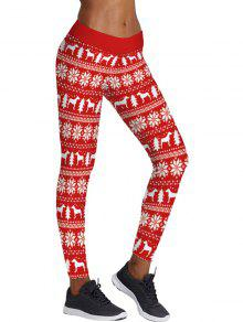 Christmas Snowflake Tree Print Skinny Leggings