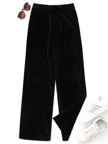 Casual Pantalones De Terciopelo Atados - Negro