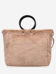 Handbag Faux Fur Handle Com Alça - Caqui