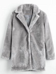معطف فرو اصطناعي بجيوب وزر - اللون الرمادي M