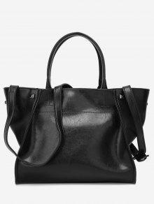 حقيبة كتف من الجلد المزيف مزينة بقطع معدنية - أسود