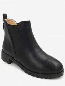 حذاء الكاحل من الجلد المزيف بكعب مكدس - أسود 37