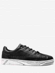 حذاء كاجوال من الجلد المصنع - أسود 41