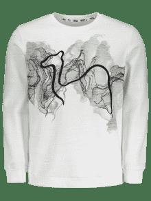 243;n Impresi 3xl Abstracta Blanco Sudadera zWwTv8