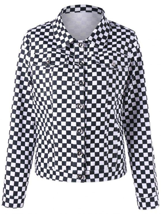 affordable Checkered Flap Pockets Shirt Jacket - BLACK WHITE XL