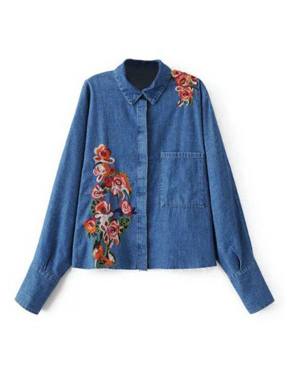 ladies Floral Embroidered Front Pocket Denim Shirt - DENIM BLUE L