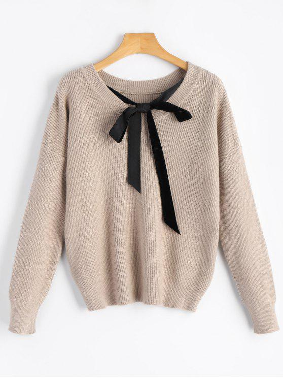online Drop Shoulder Back Self Tie Bowknot Sweater - LIGHT KHAKI ONE SIZE