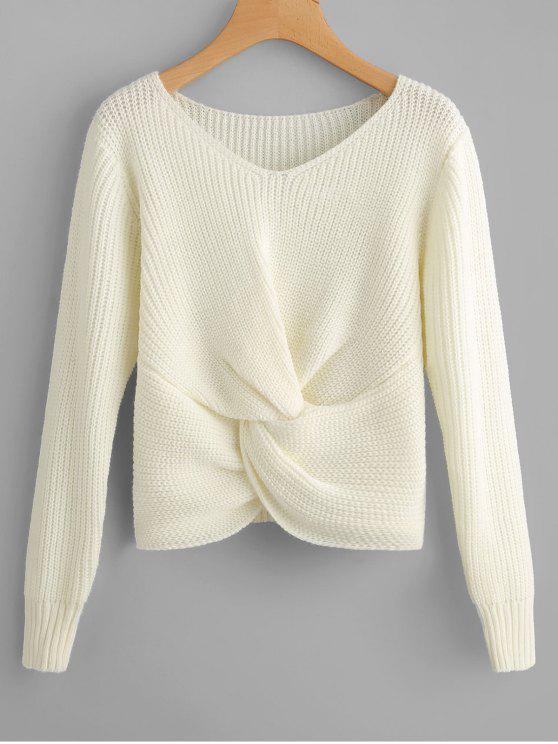 V Neck Twist Chunky Sweater - White