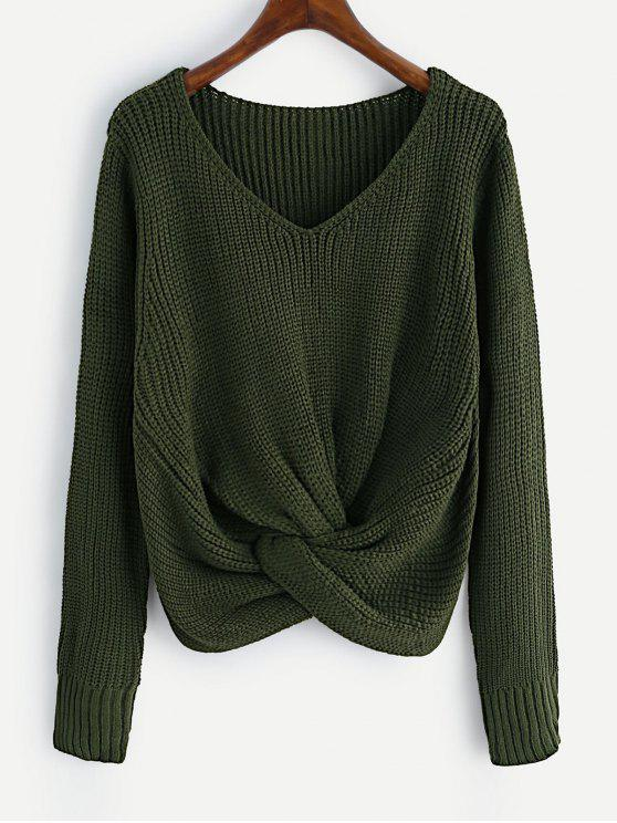 unique V Neck Twist Chunky Sweater - ARMY GREEN ONE SIZE