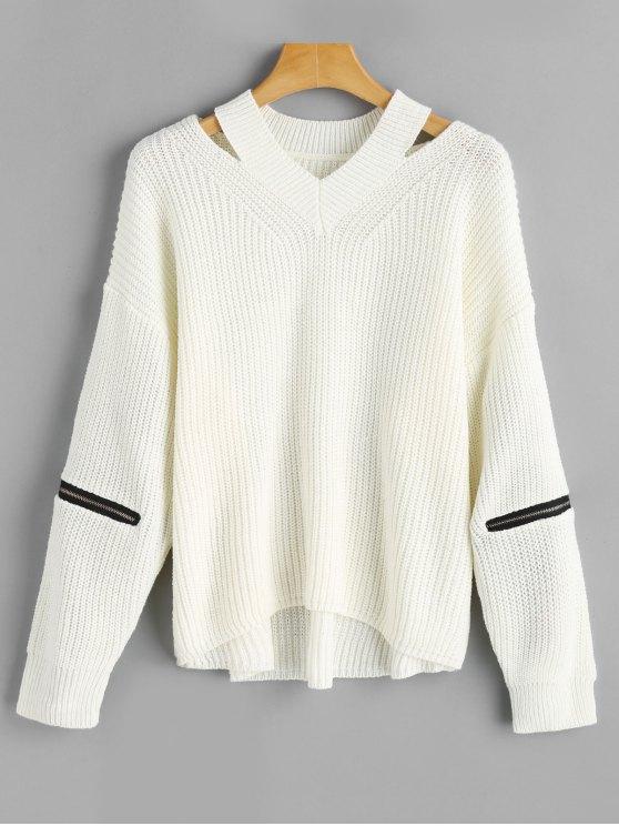Übergröße Cutout Pullover mit Reißverschluss an den Ärmel - Weiß Eine Größe