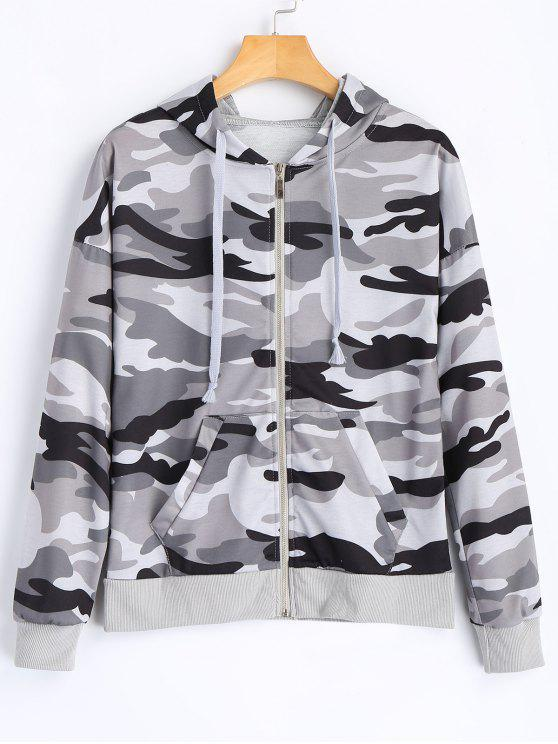 Zipper Up Camo Hoodie - Camuflage, M