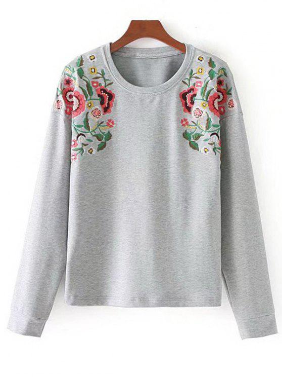 women Sunflower Embroidered Sweatshirt - LIGHT GRAY L