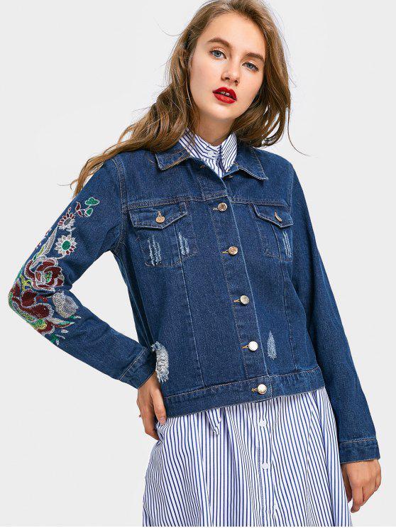 Destroyed Floral Embroidered Denim Jacket - Denim Blue M