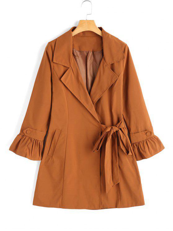 trendy Bowknot Ruffled Sleeve Skirted Coat - LIGHT COFFEE M
