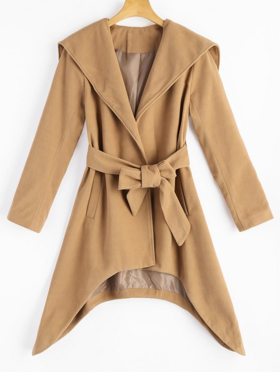 unique Belted Asymmetric Hooded Coat with Pockets - CAMEL XL