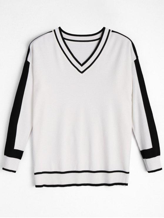 Top en tricot rayé à col en V - Blanc TAILLE MOYENNE