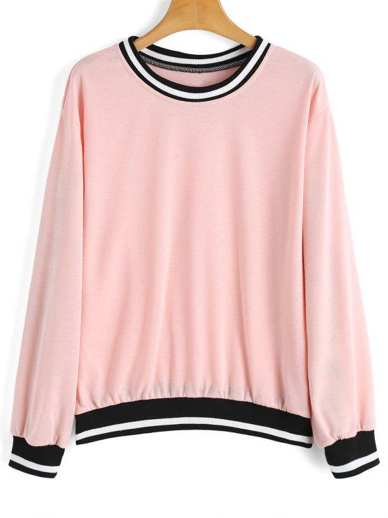 women's Loose Contrasting Stripes Panel Sweatshirt - PINK S