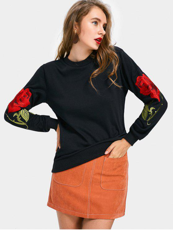 latest Long Sleeve Rose Embroidered Sweatshirt - BLACK L