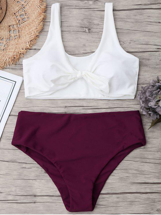 latest Two Tone Plus Size High Waisted Bikini - PURPLISH RED XL