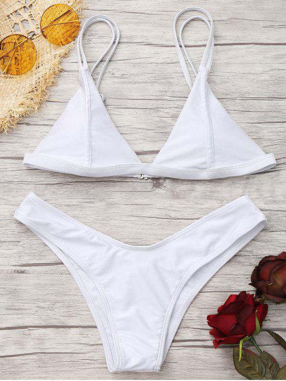 fashion Cami High Cut Thong Bikini Set - WHITE XS