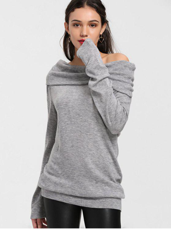 fashion Longline Off The Shoulder Knitwear - GRAY L
